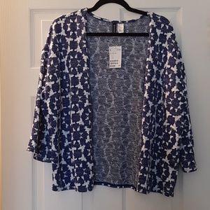 NWT H&M Blue and White Print Knit Kimono Cardigan
